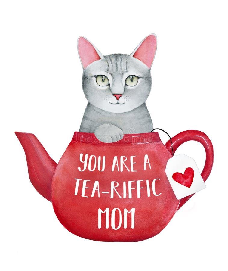 Sira de mãe ao molde do cartão do dia do ` s com o gatinho pequeno bonito ilustração stock