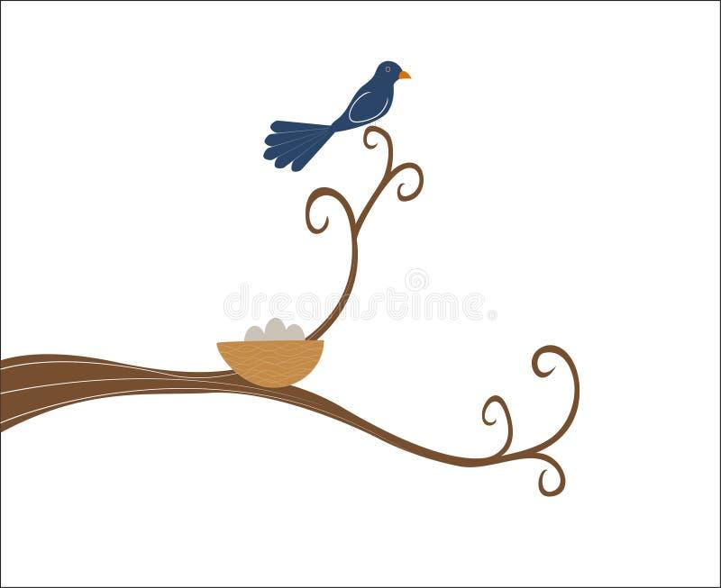 Sira de mãe ao pássaro empoleirado em um ramo de árvore para manter o ninho ilustração do vetor