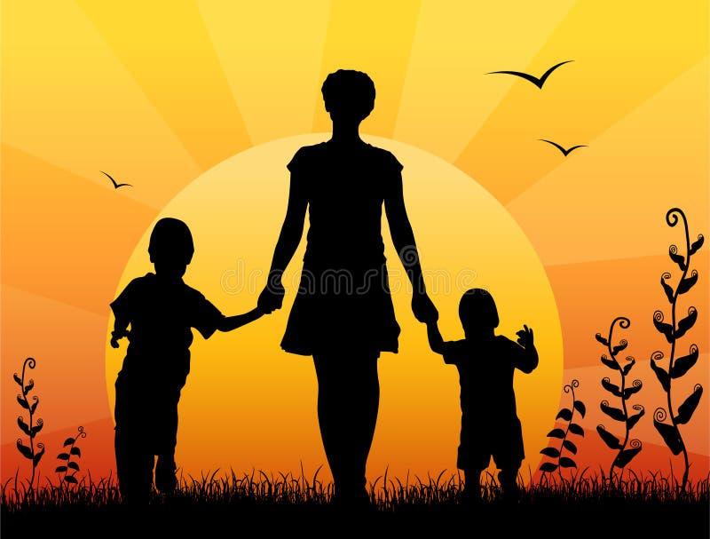 Sira de mãe com vetor do por do sol das crianças ilustração royalty free