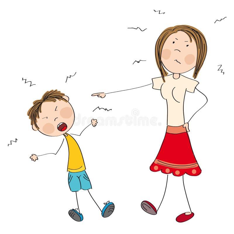 Sira de mãe a irritado com seu filho impertinente, dizendo lhe fora ilustração do vetor