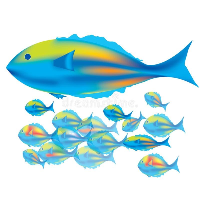 Sira de mãe a peixes & a peixes do bebê ilustração royalty free