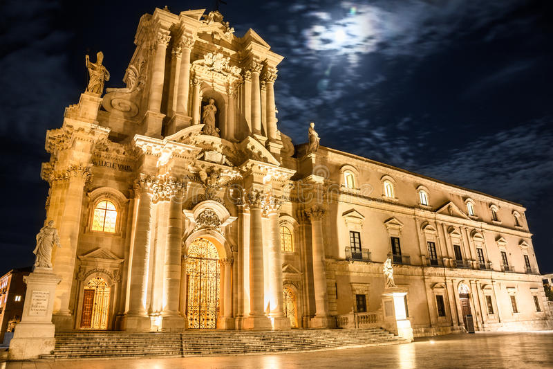 Siracusa Cathedral. Night view of Siracusa Cathedral, piazza duomo. Sicily stock image