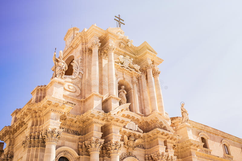 Siracusa cathedral. On sunny day stock photography