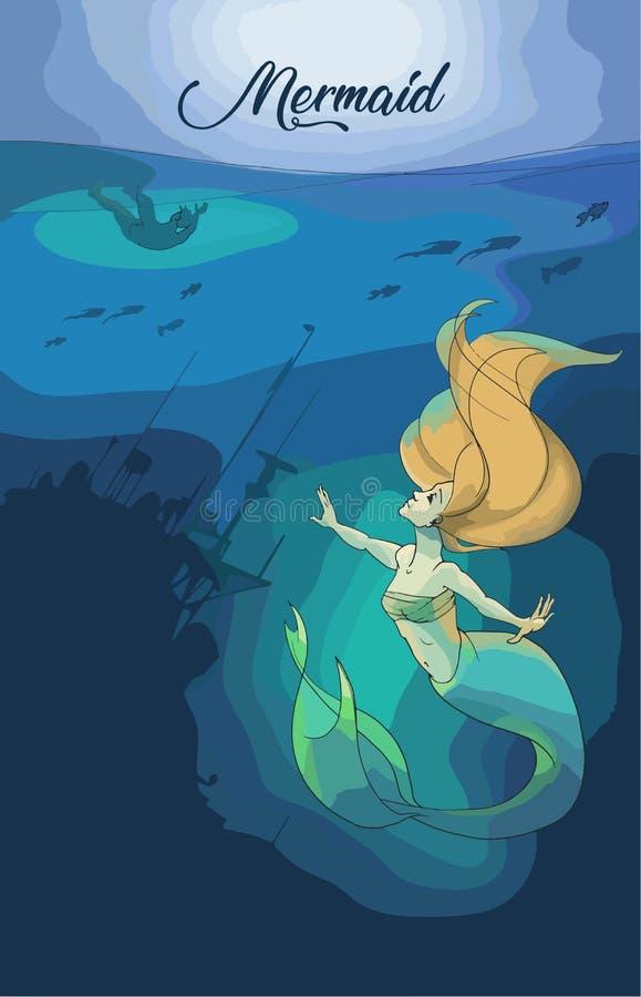 Sirena Art Illustration royalty illustrazione gratis