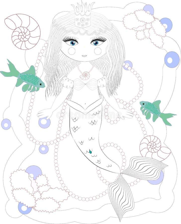 Sirena bella Mondo subacqueo Anti libro da colorare di sforzo per l'adulto Pagina di coloritura del disegno di profilo In bianco  royalty illustrazione gratis