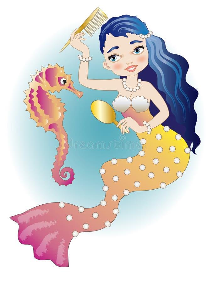 sirena Blu-dai capelli con l'ippocampo illustrazione di stock