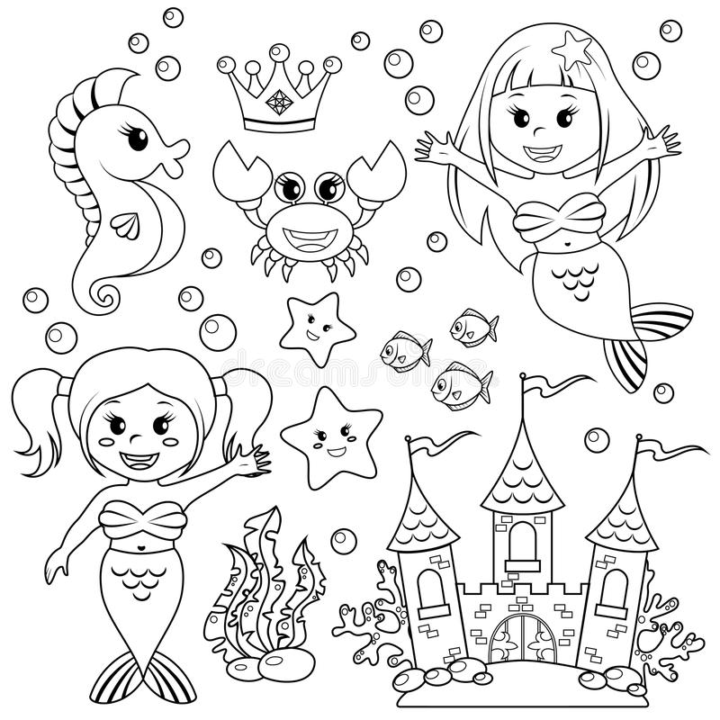 Sirena, castillo subacuático y animales de mar Pescados, estrellas de mar, seahorse, cangrejo, crovn libre illustration