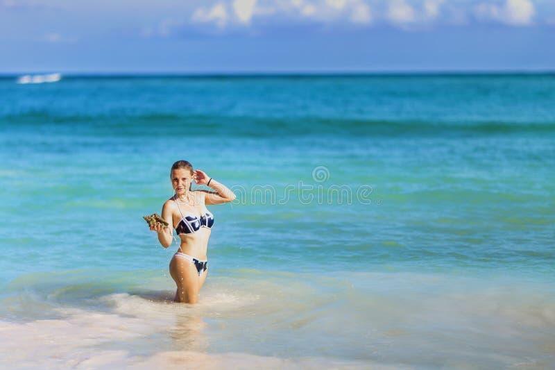 Sirena con la conchiglia fotografia stock