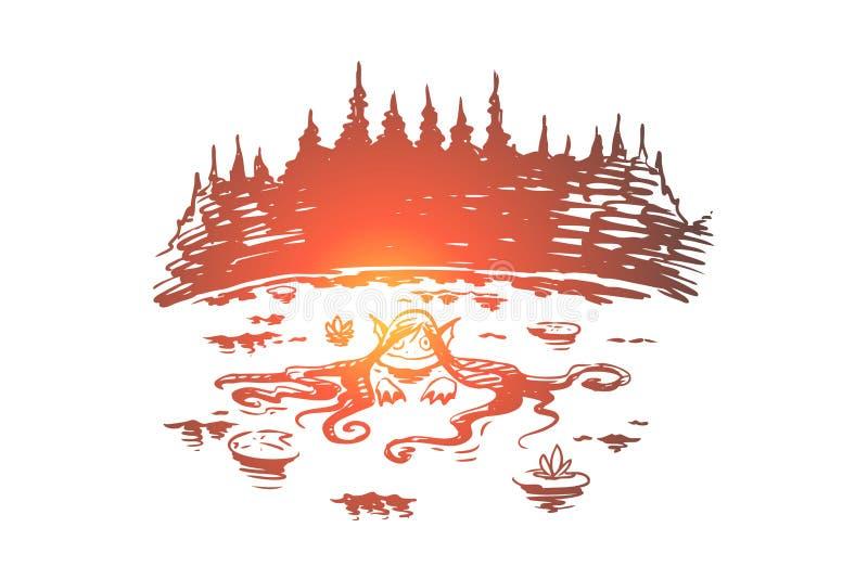 Sirena, crisalide del lago, giovane spirito immaginario dell'acqua nuotante nel lago, siluetta della foresta illustrazione di stock