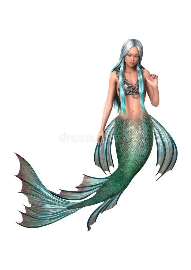 Sirena de la fantasía en blanco ilustración del vector