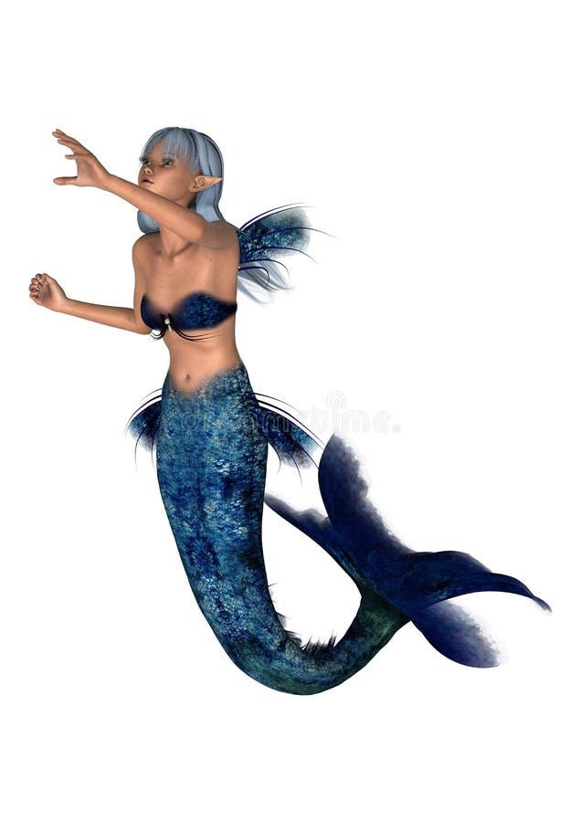Sirena de la fantasía en blanco stock de ilustración