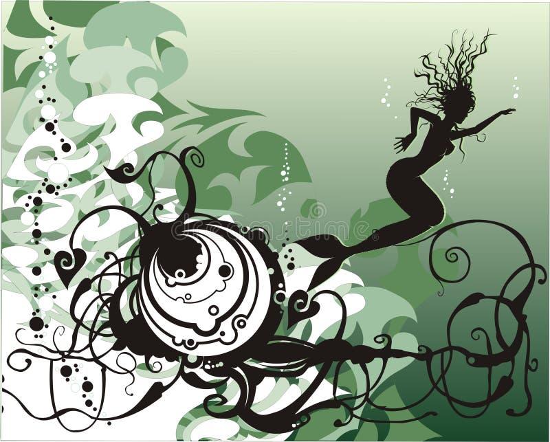 Sirena del vector bajo el mar ilustración del vector