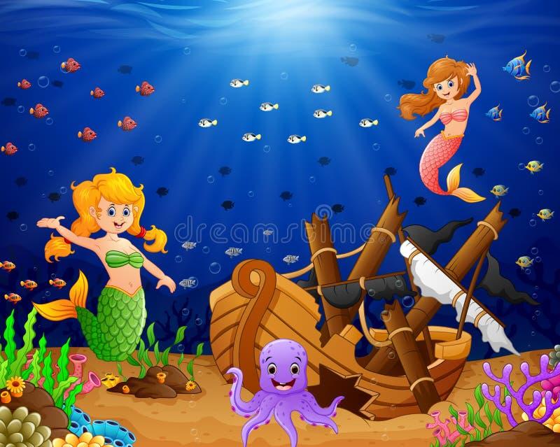 Sirena dell'illustrazione sotto il mare illustrazione di stock