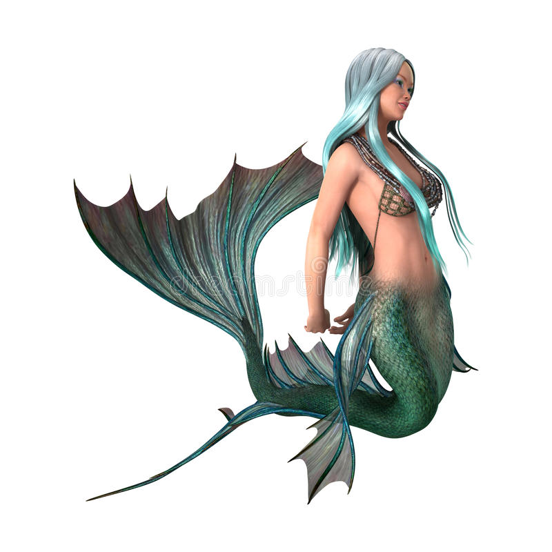 sirena di fantasia della rappresentazione 3D su bianco illustrazione vettoriale