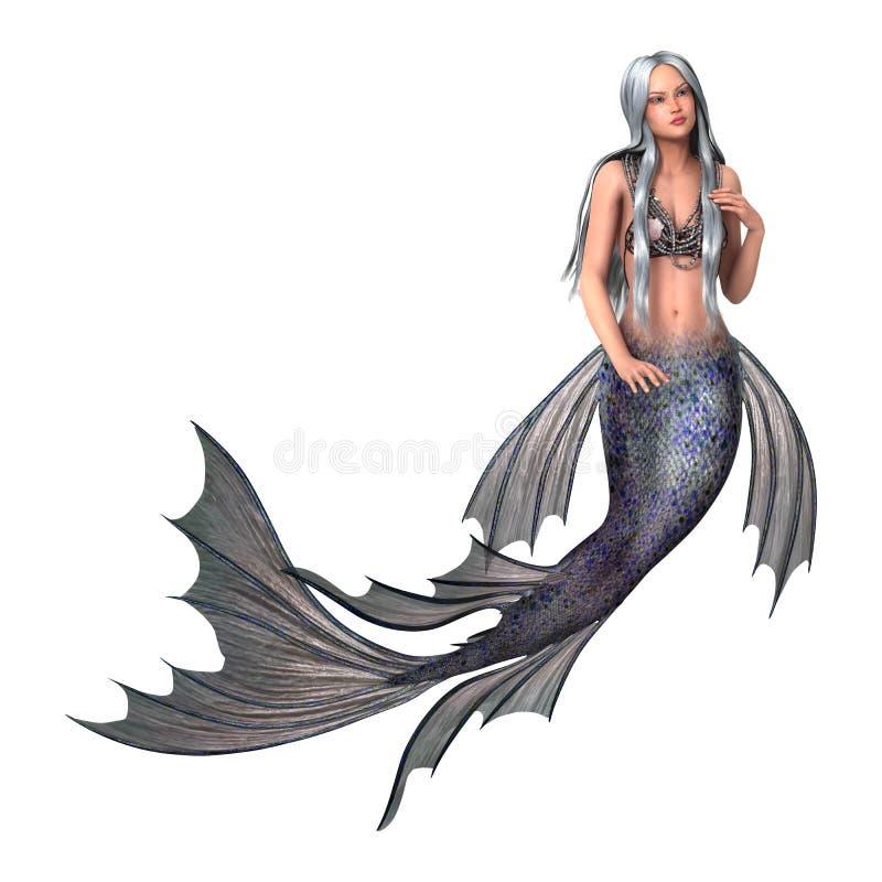 Sirena di fantasia su bianco illustrazione vettoriale