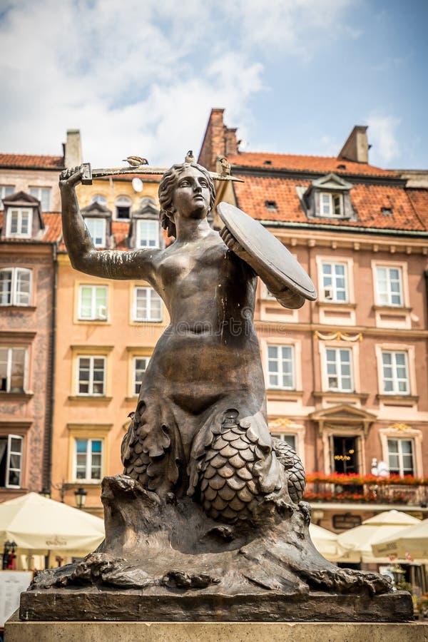 Sirena di Varsavia al quadrato del mercato di Città Vecchia, Polonia immagine stock libera da diritti