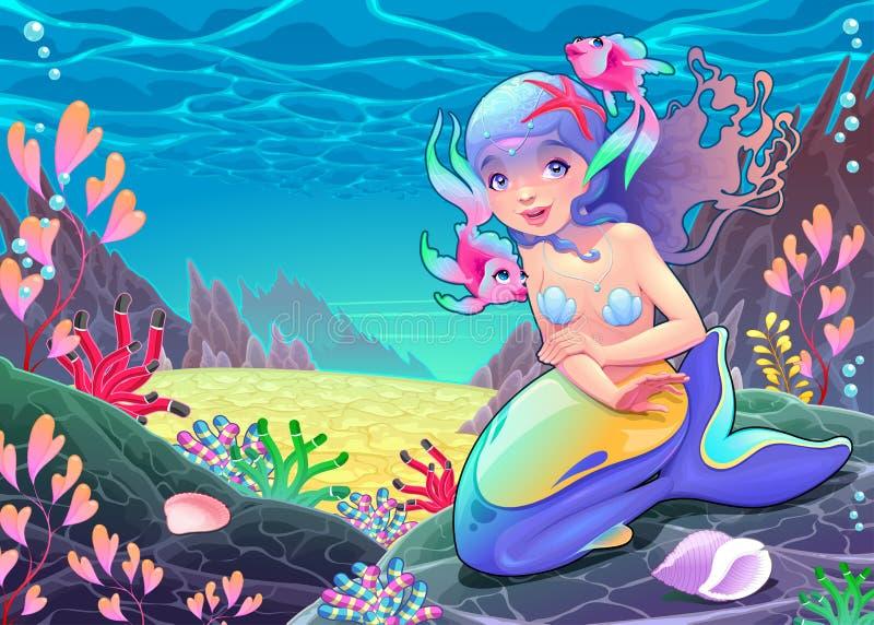 Sirena divertida de la historieta en el paisaje marino ilustración del vector