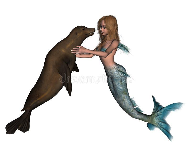 Sirena e guarnizione illustrazione vettoriale