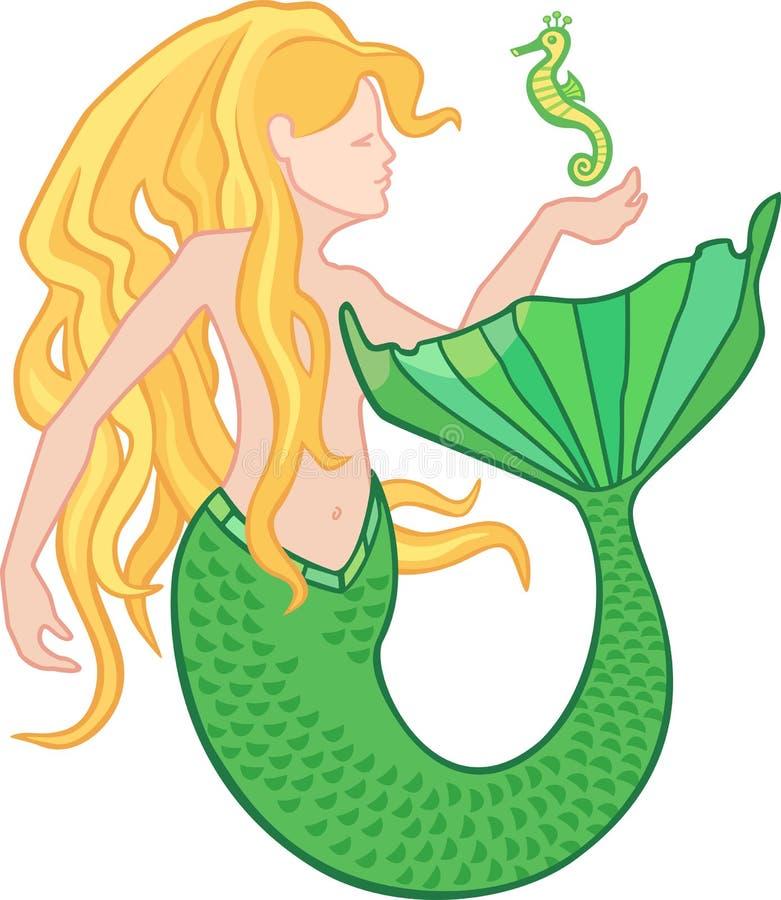Sirena e ippocampo royalty illustrazione gratis