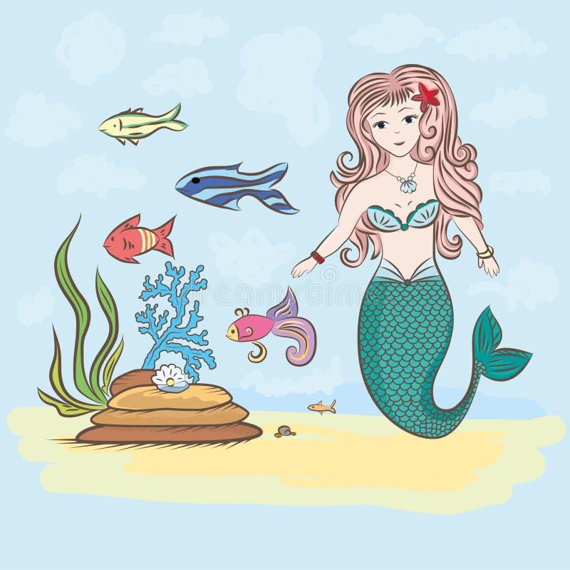 Sirena e pesce, rocce e coperture dell'alga con la perla royalty illustrazione gratis