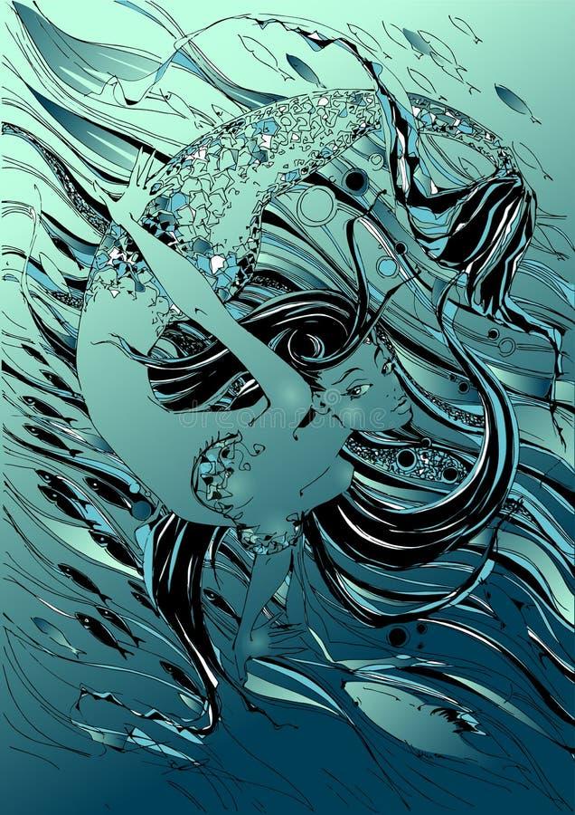 Sirena El cuento es un mito Mundo subacuático Pescados gráficos Vector stock de ilustración