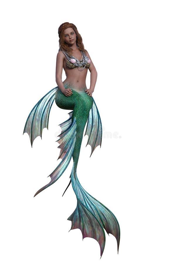 Sirena en actitud que se sienta stock de ilustración