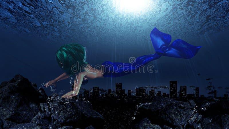 Sirena en mundo subacuático ilustración del vector