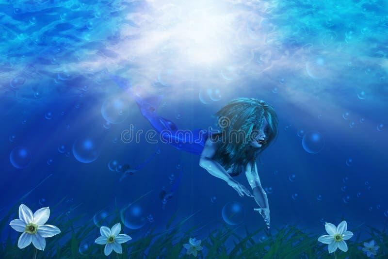 Sirena en mundo subacuático libre illustration