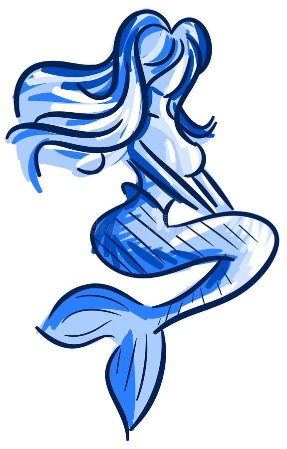 Sirena estilizada en tonos azules aislada ilustración del vector
