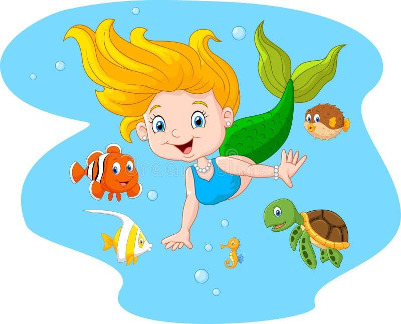 Sirena felice con l'animale di mare sul fondo dell'acqua di mare royalty illustrazione gratis