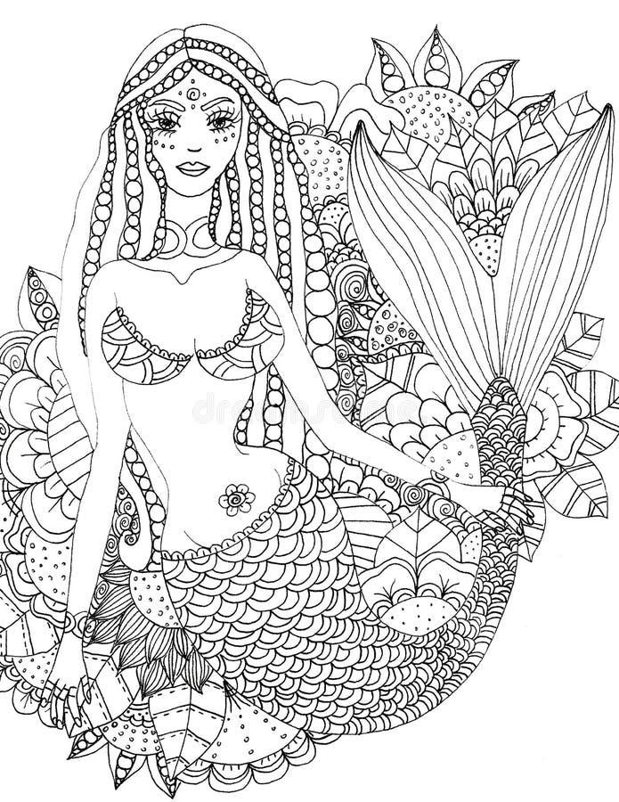 Sirena floreale, pagina di coloritura stampabile, bollo digitale, disegno, illustrazione immagine stock