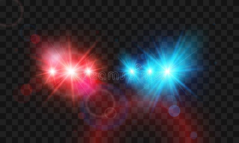 Sirena ligera roja y azul del flash de la plantilla del coche policía Ejemplo del vector aislado en fondo transparente ilustración del vector