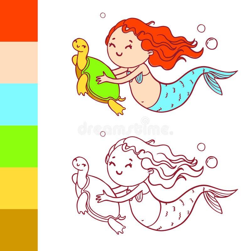 Sirena Linda Con La Tortuga Página Del Libro De Colorear Con El ...