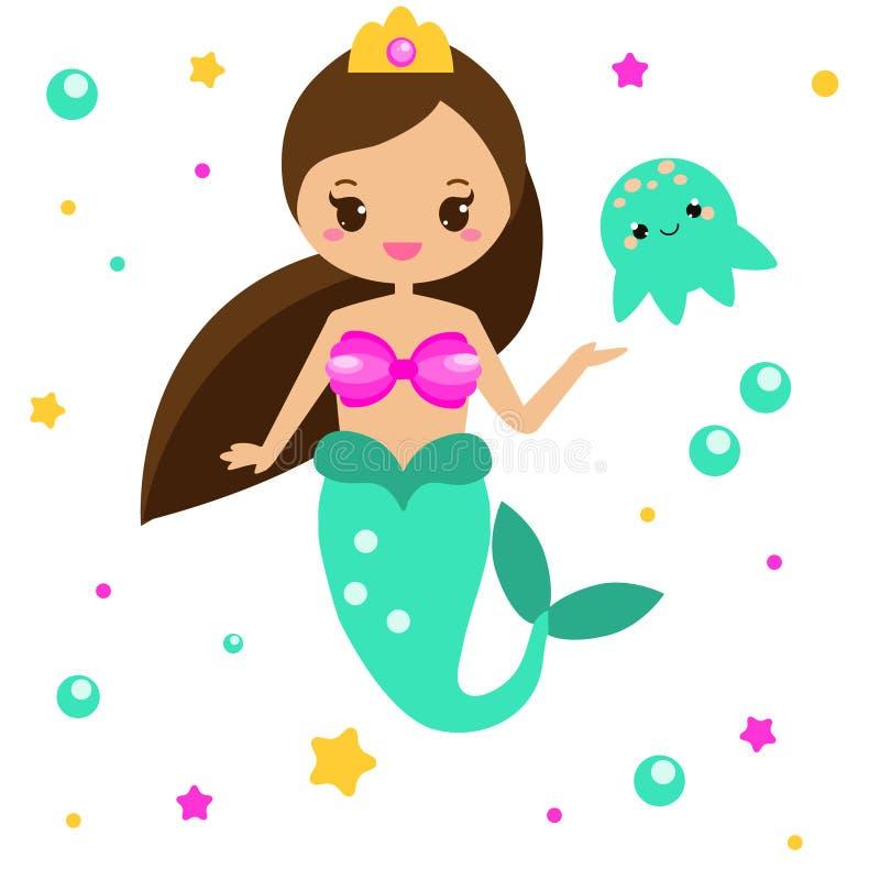 Sirena linda con las medusas Personaje de dibujos animados, estilo del kawaii Ilustración del vector libre illustration