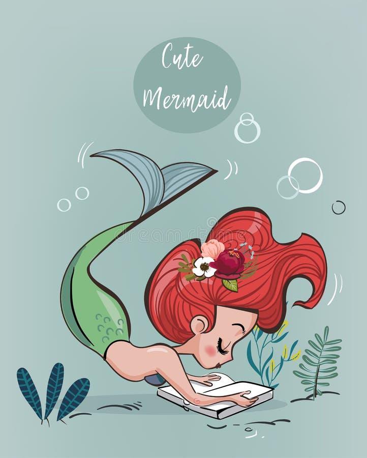 Sirena linda de la historieta stock de ilustración