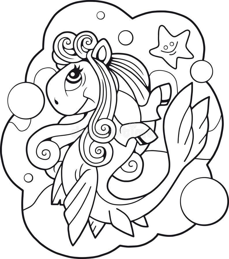 Sirena linda del potro, diseño divertido del ejemplo stock de ilustración