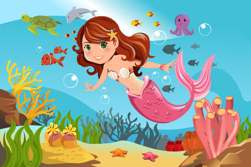 Sirena in oceano royalty illustrazione gratis