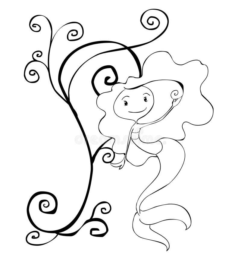 Sirena pintada blanco y negro fotos de archivo