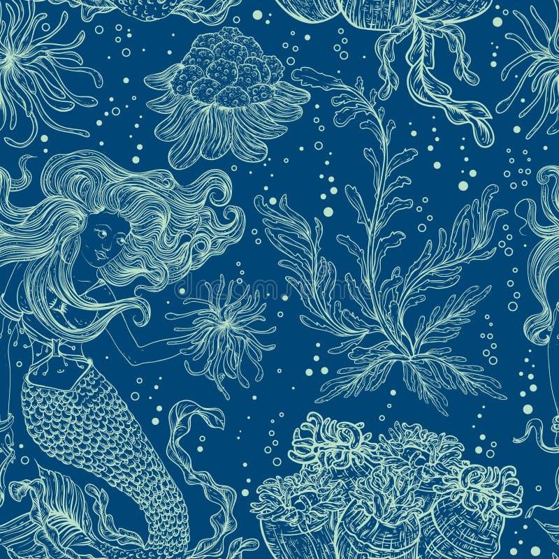 Sirena, plantas marinas, corales y alga marina ilustración del vector