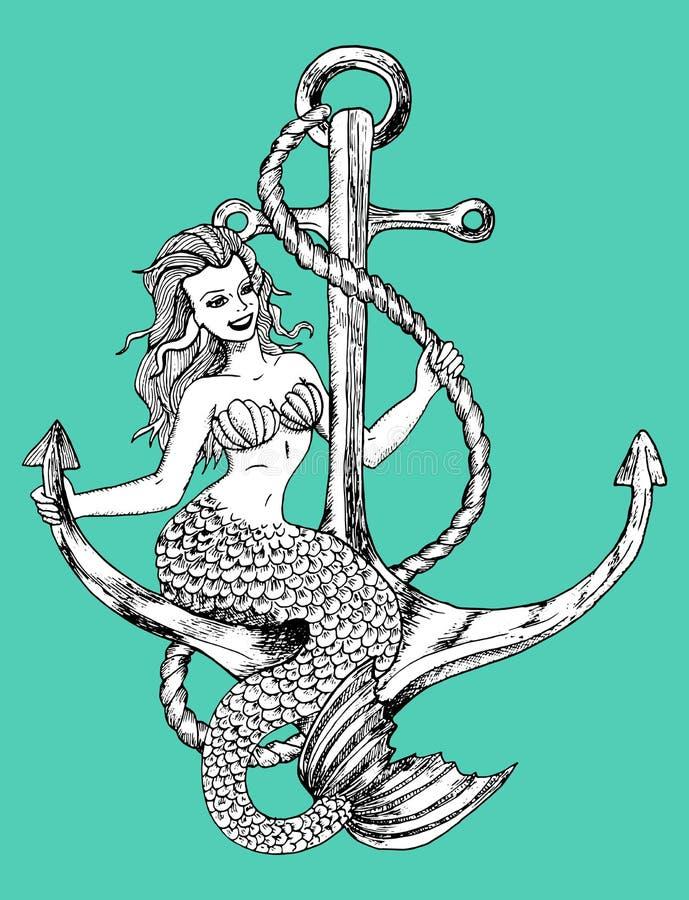 Sirena que se sienta en el ancla ilustración del vector