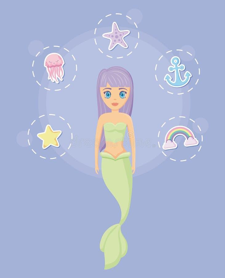 Sirena sveglia con le icone stabilite royalty illustrazione gratis
