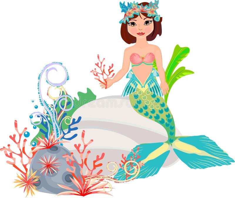 Sirena y arrecife de coral ilustración del vector. Ilustración de ...