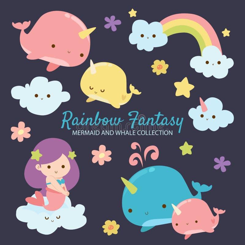 Sirena y ballena de la fantasía del arco iris libre illustration