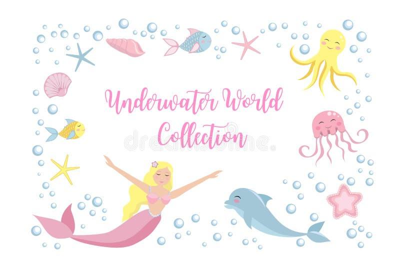 Sirena y delfín determinados lindos, pulpo, pescado, medusas Colección subacuática del mundo Marco del mar, fondo stock de ilustración