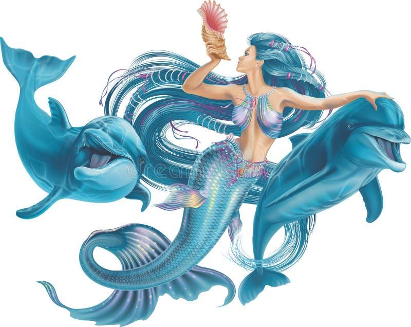 Sirena y delfínes en un fondo blanco imagenes de archivo