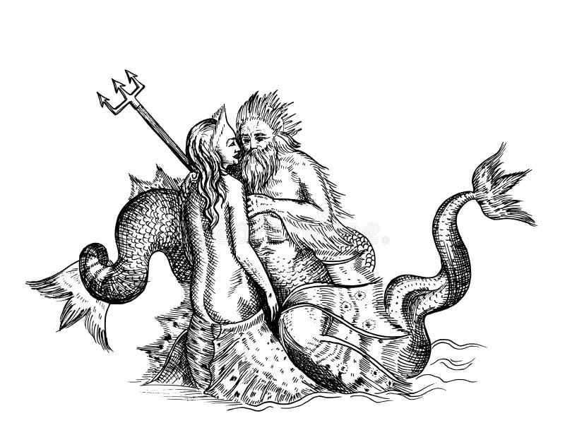 Sirena y Neptuno stock de ilustración