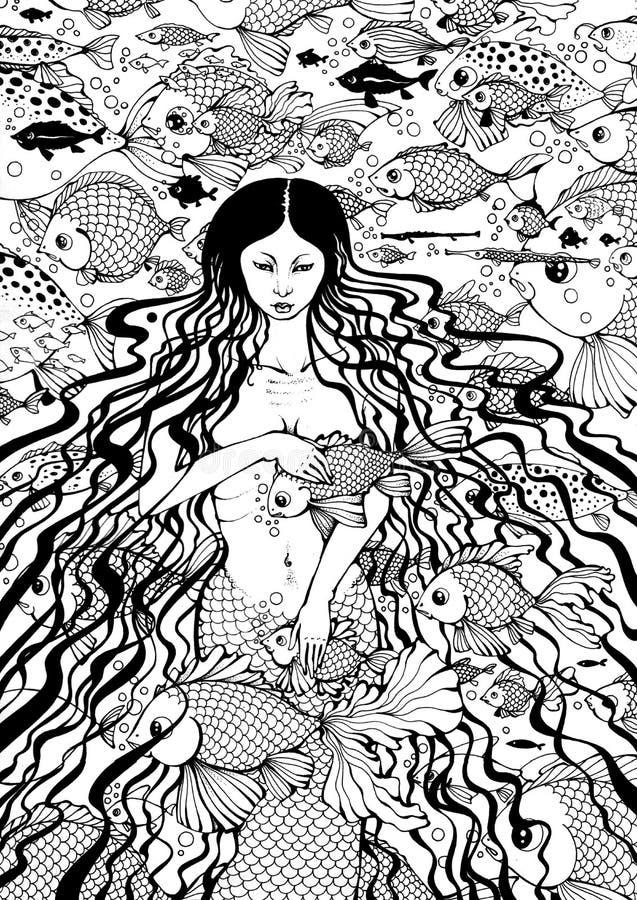 Sirena y pescados stock de ilustración