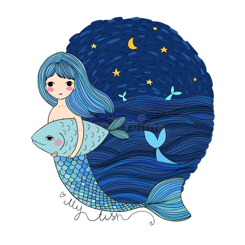 Sirena y pescados lindos de la historieta Sirena Tema del mar Objetos aislados en el fondo blanco ilustración del vector