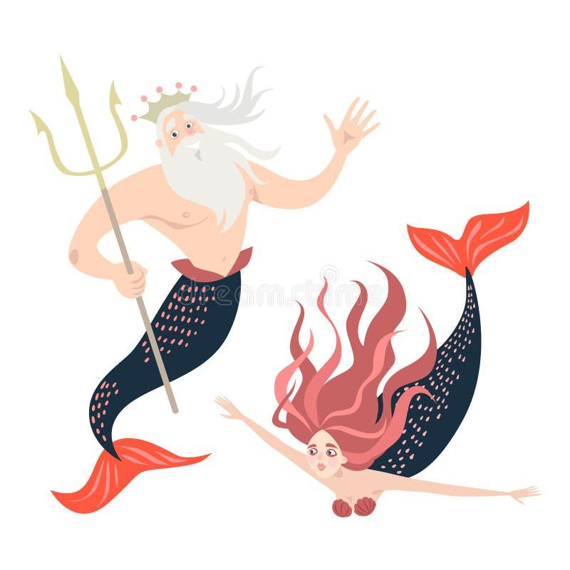 Sirena y tritón divertidos de la historieta caracteres del cuento de hadas libre illustration