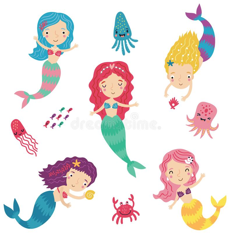 Sirenas lindas, juego de caracteres libre illustration